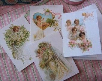 4 Reproduction c1900 Frances Brundage Wedding Cards Bride BLANK INSIDE by Vintage Bella
