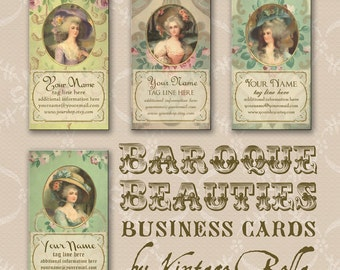 Marie Antoinette BAROQUE BEAUTIES Business Cards By Vintage Bella Professionally Printed