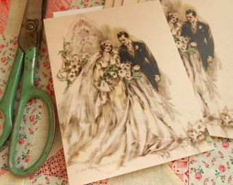 4 Bridal Wedding Art Deco 1930s Bride and Groom Blank Note Cards by Vintage Bella