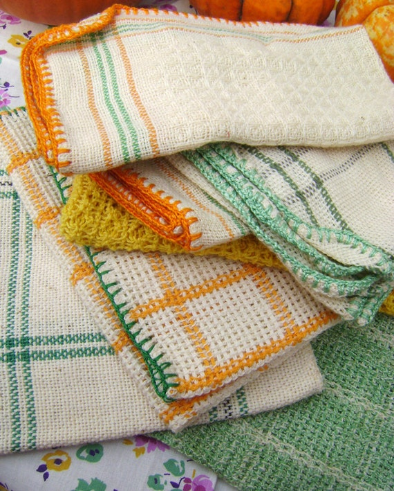 Retro Kitchen Linens: 7 Vintage Circa 1950s Kitchen Washcloth Towels By Vintagebella