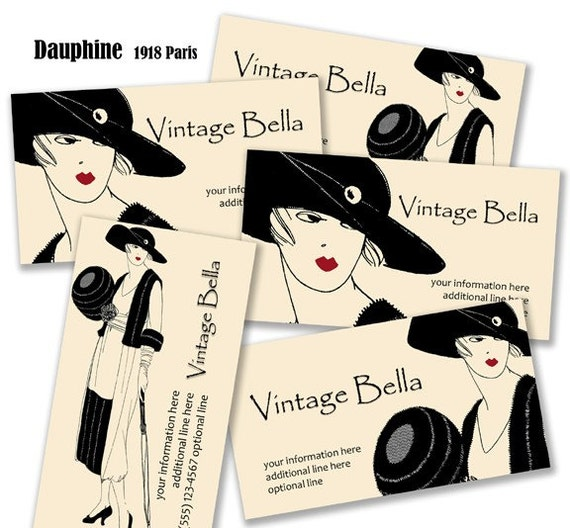 Vintage Bella 250 BUSINESS CARDS Professionally Printed 1918 DAUPHINE Vintage Fashion Clothing Illustration from Paris