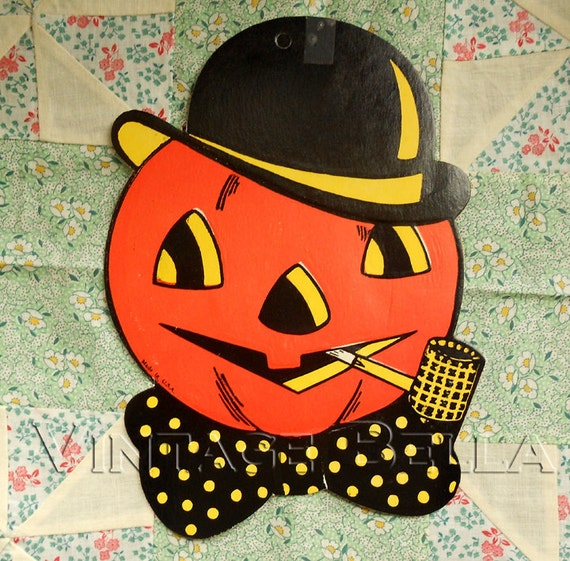Vintage Halloween Decoration Jack-o-Lantern with Corn Cob Pipe Pumpkin by H. E Luhrs from BEISTLE 1940s