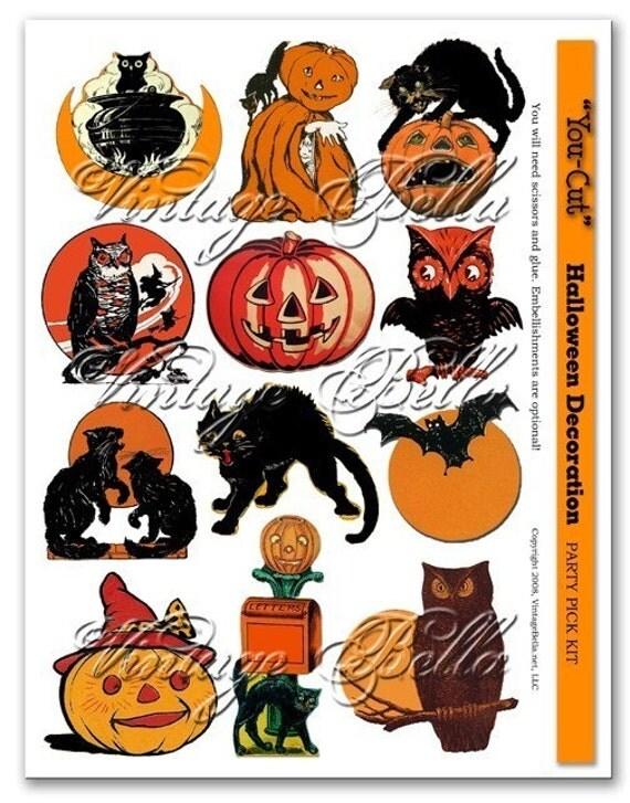 Vintage halloween decorations illustrations cupcake party pick for Antique halloween decoration