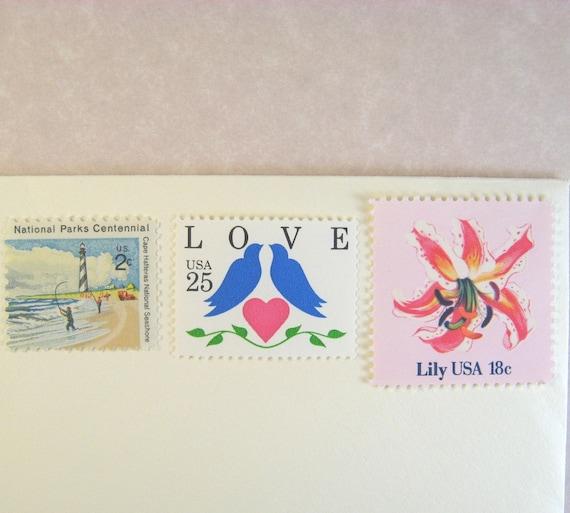 Vintage Postage Stamps Unused, Blue Doves Love, Sea, Pink Flowers, Mail 10 Letters