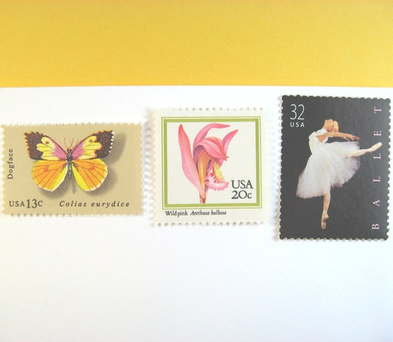 Vintage Postage Stamps Unused, Ballet, Orchids, Butterfly, Mail 20 Invitations up to 2 oz