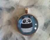 Baby Panda Art Jewelry - Real Glass - 1 Inch Circle Bezel Sterling Silver Pendant - Baby Panda - Cute Animal - Jewelry