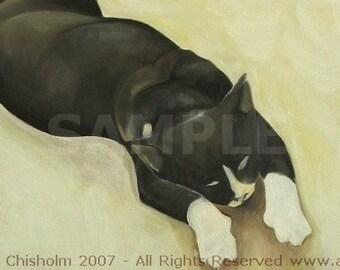 Spa Cheerio. Cat Art. Tuxedo Cat Art. Black and White Cat. Art Print. Awesome Cat Art