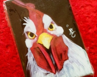 Year of the Rooster. RU Lookin at ME - Angry White Rooster - Lunar New Year 2017 - Angry Rooster 4X6 Inch Handmade Original Painting