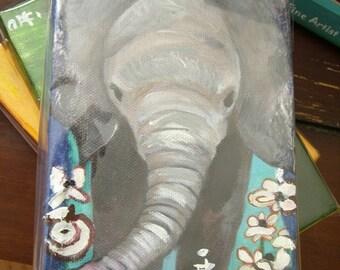 Baby Elephant Art - Baby Susie Frolicks Thru Flowers  -  4 X 6 Inch  Handmade Painting on Canvas - Baby Elephant Nursery Art