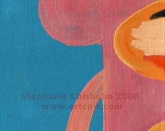 The Right Side of Pinkie. Pink Sock Monkey Art. Nursery Art. Jungle Baby Shower Gift. Kids art print, poster.