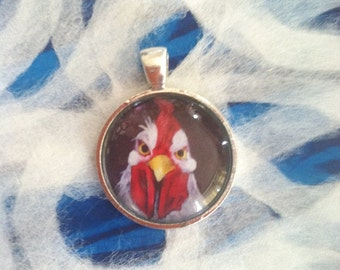Angry Rooster Art Jewelry - 1 Inch Circle Bezel Pendant -  RU Lookin at Me - Angry Bird- White Rooster