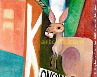 K for Kangaroo. Kangaroo Art.  Kangaroo under Broadway Light in New York City.  Alphabet Animal Art. Kids Art. Illustration. Poster