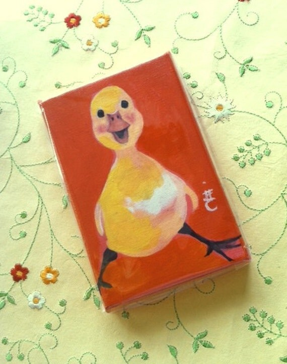Pluckie Duckie  -  4 X 6 Inch  Handmade Painting on Canvas - Baby Yellow Duckie