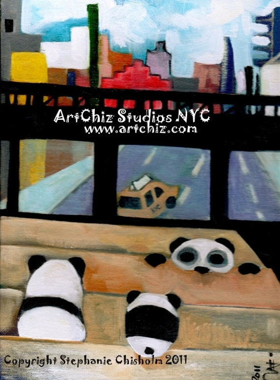 Panda Illustration. Pandas sitting in The High Line Park in NYC. Art. Cute Pandas. Signed by the Artist - High Line Panda Theater