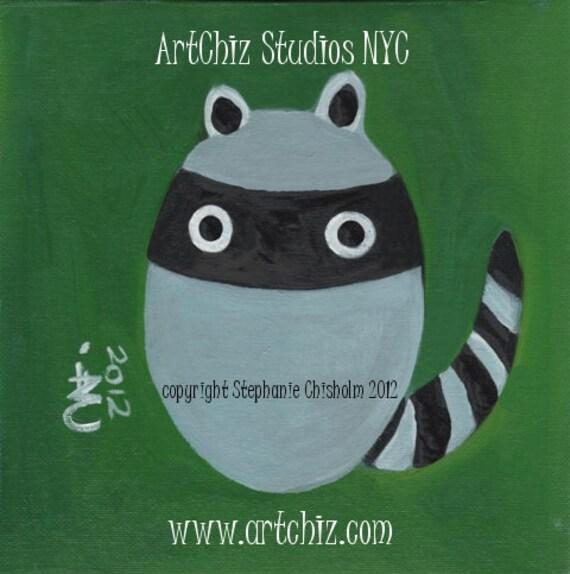 Baby Bandit. Baby Racoon Art. Woodland Animal. Kids Art Print. Hunter Green. Nursery. Playroom. Awesome children's illustration, poster.