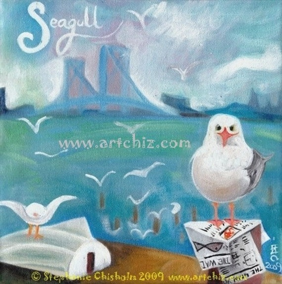 S for Seagull. Alphabet Bird.  Nautical Art. Seagull on Long Island Beach in NYC. Kids Art Print. Baby Shower Gift. Kids art print, poster.