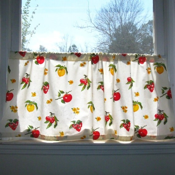 Fruit Pattern Kitchen Curtains: Vintage Fruit Pattern Cafe Curtain