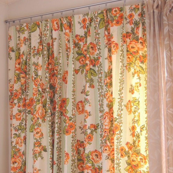 Pairvintage Pleated Floral Curtains Green And Orange By Stephied