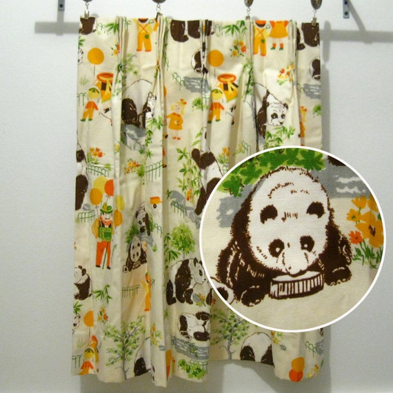 Vintage pleated curtain panel, panda bears, children and balloon man whimsical fun childrens room pattern