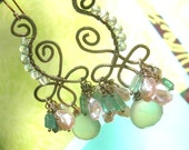 DEIRDRE - Sterling Earrings - Apatite, Aquamarine Rounds, Keishi Pearls, Chalcedony, Wire Wrapping