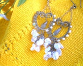 RESERVED for Marie!!! Final Payment!!  ISLAND WEDDING - Sterling Swing Earrings - Labradorite, Keishi Pearls, Rice Pearls