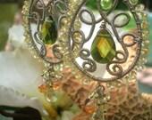 EARTHLY PLEASURES - Sterling Earrings - Peridot, Lemon Topaz, Smokey Green Quartz, Citrine