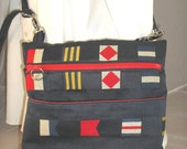 SALE Messenger bag marine blue with flags and lots of  chrome hardware OOAK