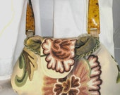 Small handbag of crewel embroidered fabric, faux tortoise handles OOAK