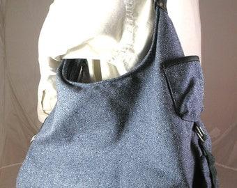 Large hobo bag of linen-blend denim blue,  tweedy fabric with leather trim OOAK