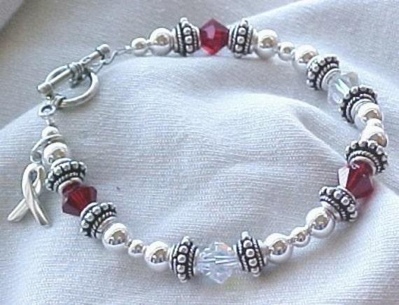 Juvenile Diabetes (Type 1) Awareness Hand-crafted Sterling Silver Bracelet w/ Swarovski Crystals