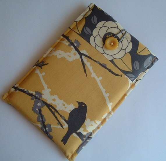Kindle 3 Latest Edition Ereader Sleeve, Case, Joel Dewberry Aviary 2 Sparrows Fabrics, Vintage Button