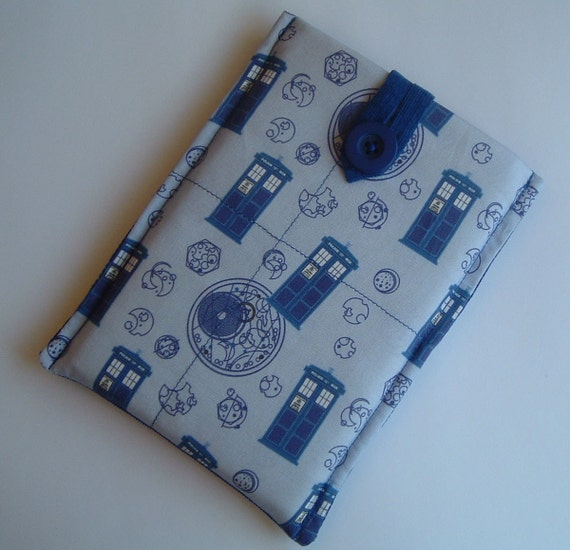 Kindle Touch or 79.00 Kindle Ereader Sleeve, Case, Madman in a Bluebox Fabric FREE SHIP