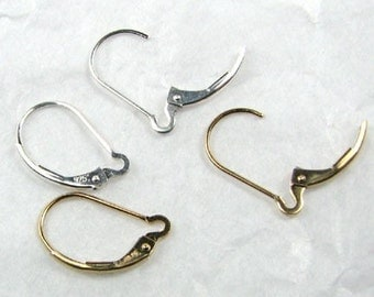 Gold or Sterling Silver Leverback Earring for Ear Charms