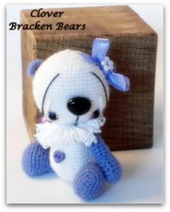 """SALE 20% OFF - Use coupon code """"BB001""""  Clover, miniature crochet bear by Bracken Bears"""