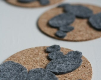 3 Cork and Felt Coasters