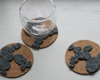 3 Cork and Felt Coasters