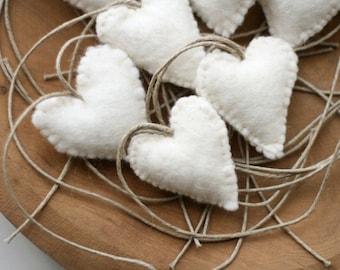 1 White Felt Heart