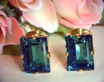 Swarovski  crystal Green erinite step cut fancy stone clipon  earrings
