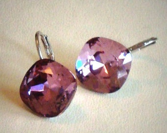 Swarovski crystal 12mm square fancy stone golf earrings,warm romantic antique pink colour,silver rhodium pl. setting
