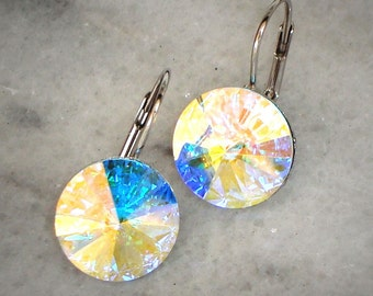 14mm Rivoli Swarovski Crystal earrings colour Clear Crystal Aurora Borealis