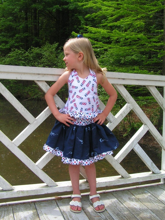 2Pc Nautical 4th of July pageant boutique set sz 2t 3 4 5 6 7 Custom set