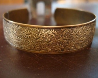 LOVELY LEAF CUFF,  Custom Hand Rubbed Patina