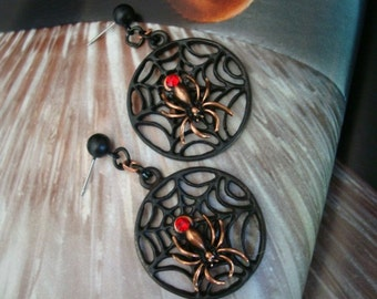 Gothic Earrings, SPIDER WEB Earrings With Spider and Red Jewel, Dark, Creepy and Original, Handmade, One of a Kind, USA, Post Earrings