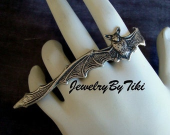 Gothic Vampire, FULL HAND BAT Ring, Heavy Sterling Silver Plate with Lovely Dark Antique, Will make for Right Or Left Hand, Please Advise