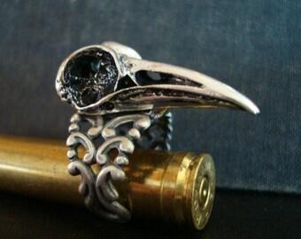 RAVEN BIRD SKULL, Gothic Ring, Metal Bonded Not Glued