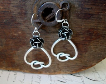 LOVERS KNOT HEART and RoseS Ear rings, Sterling Silver Ox Finish, Custom Original Design