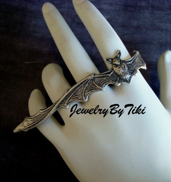 Gothic Vampire, FULL HAND BAT Ring, Heavy Sterling Silver Plate with Lovely Dark Antique