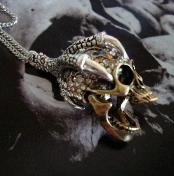 GOTHIC RAVENS REVENGE Necklace, Rhinestone Set Skull With Movable Jaw