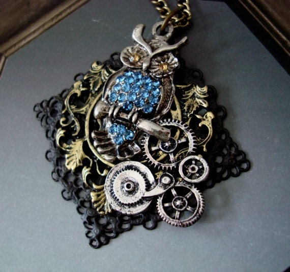 Hand made, Steampunk Rhinestone Jeweled Owl and Gears, Necklace, Original, Custom, Filigree Brass Base with Vintage Patina