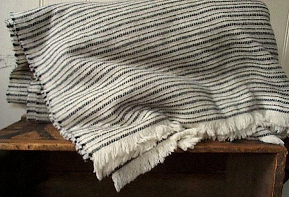 Ticking stripe virgin wool blanket wrap - winter white black - eco vintage fabric